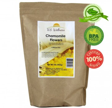 Chamomile tea, young camomile flowers from Bosnia (used as herbal tea, brewing chamomile beer, kombucha...), 1lb bulk