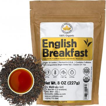 English Breakfast Tea, CRISP, RICH & AROMATIC well-rounded loose leaf tea, 110+ cups, 8oz Organic Ceylon SINGLE ESTATE tea, 100% IDULGASHINNA estate, OP grade tea, U.S.A. Processed & Quality Control