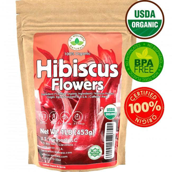 100% Organic Hibiscus (Whole Petals) Herbal Tea 1 lb bulk (Egypt)