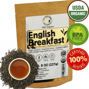 English Breakfast Tea, CRISP, RICH & AROMATIC well-rounded loose leaf tea, 110+ cups, 8oz Organic Ceylon SINGLE ESTATE tea, 100% Harrington estate, OP grade tea, U.S.A. Processed & Quality Control