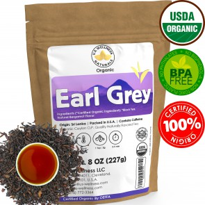 Earl Grey Tea, FLORAL & CITRUSY, 100% Natural Bergamot Flavor Blended with ORGANIC Loose Leaf Tea, 110+ Cups, 8oz, ORGANIC CEYLON, OP Grade Tea, U.S.A Processed & Quality Control