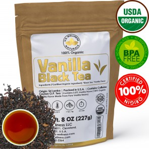 Vanilla Black TEA 100% Organic Loose Leaf Tea 8Oz